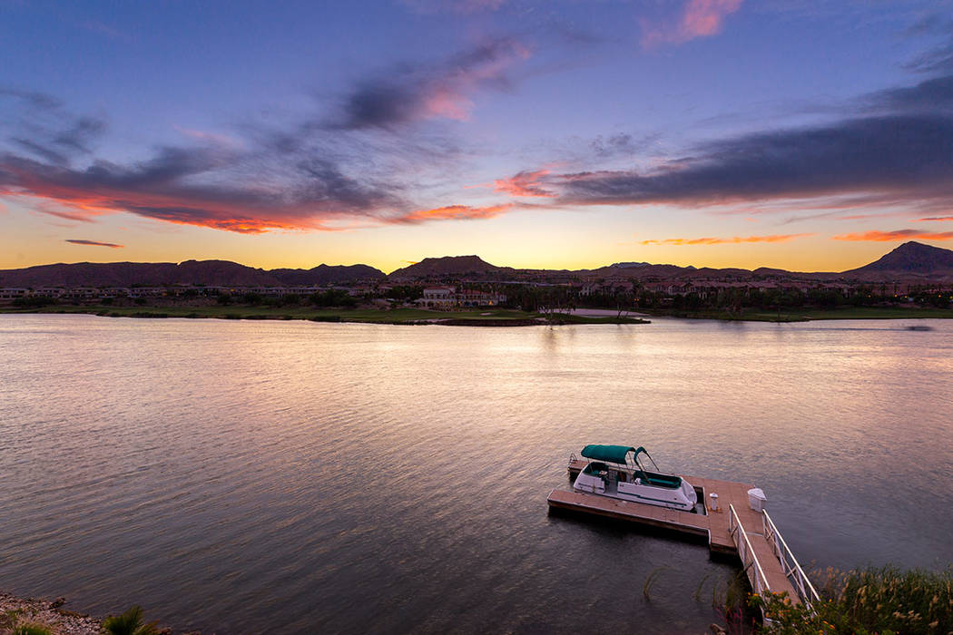 The home has a boat dock on Lake Las Vegas. (Ivan Sher Group)