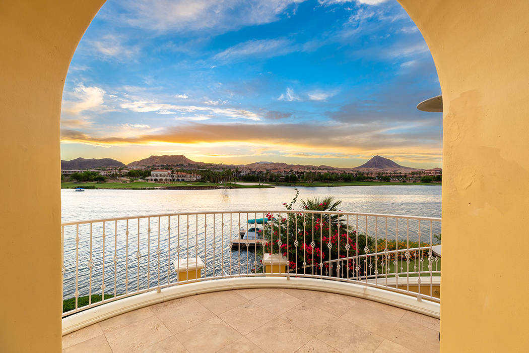 One of the home's balconies has a view of Lake Las Vegas. (Ivan Sher Group)