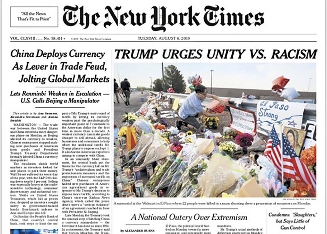 This image shows a tweeted version of The New York Times front page for Tuesday, Aug. 6, 2019, ...