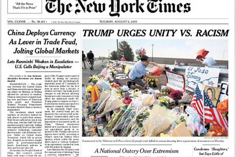 This image shows a tweeted version of The New York Times front page for Tuesday, Aug. 6, 2019. ...