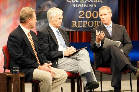 FILE--McKrae Game, president of Truth Ministries, Sen. Mike Fair, R- Greenville, and Andrew Gob ...