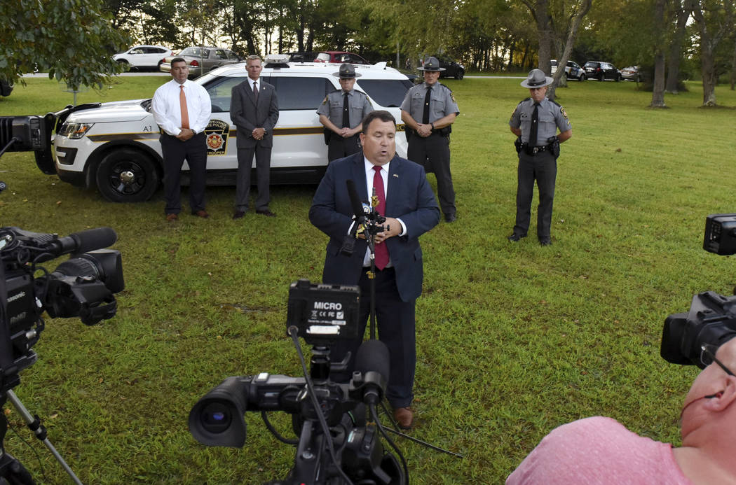Indiana County District Attorney Patrick Dougherty speaks at a press conference after the body ...