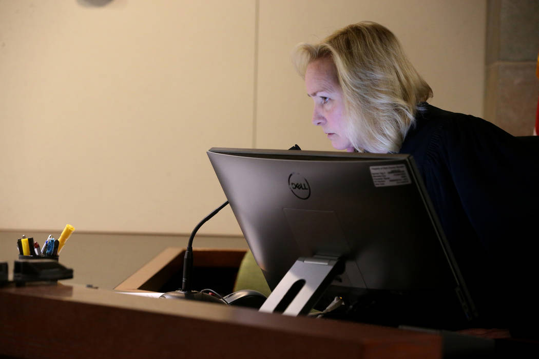 Las Vegas Justice of the Peace Ann Zimmerman presides as Chuck Chaiyakul, 38, suspected in the ...