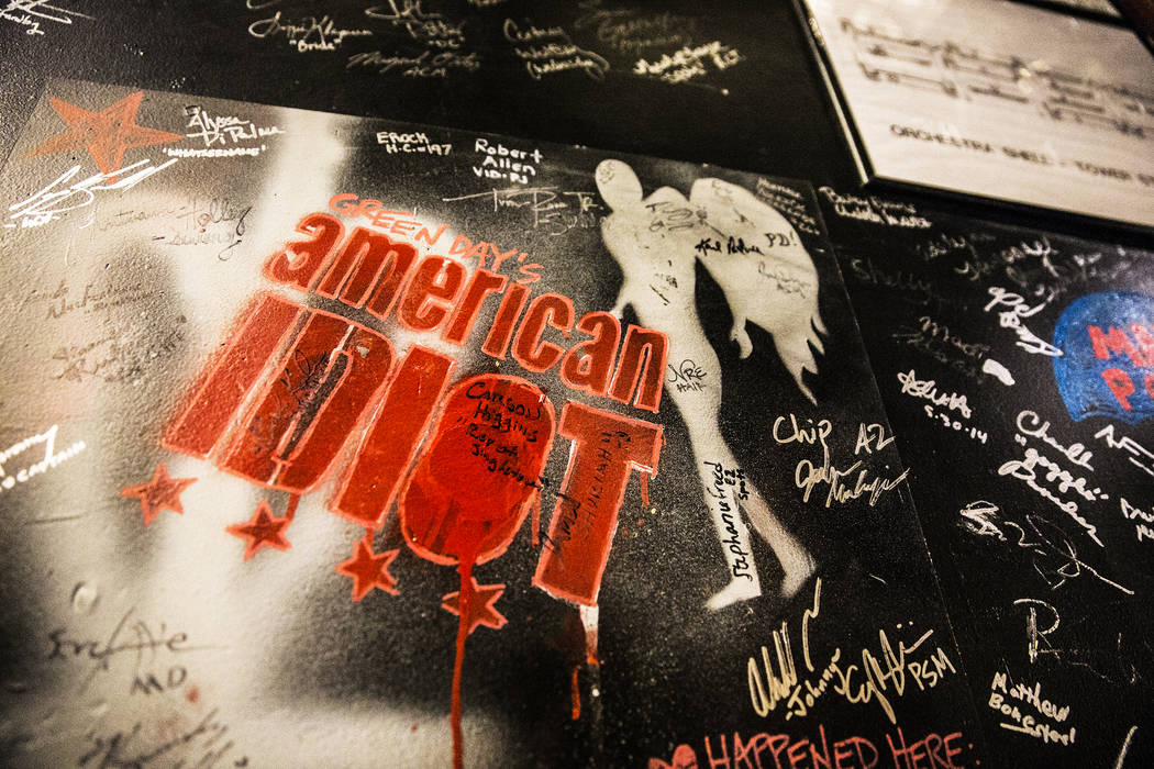 Artwork from American Idiot drawn on the walls backstage at The Smith Center on Monday, Feb. 20 ...