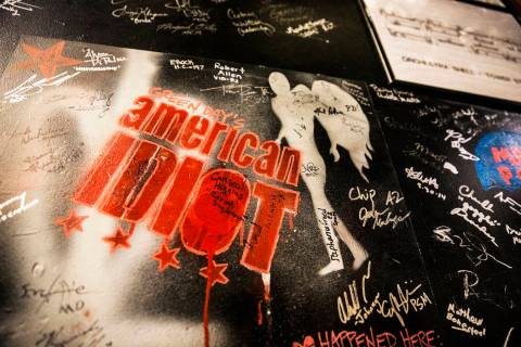 "Artwork from ""American Idiot"" drawn on the walls backstage at The Smith Center, Feb. 20, 2017, ..."