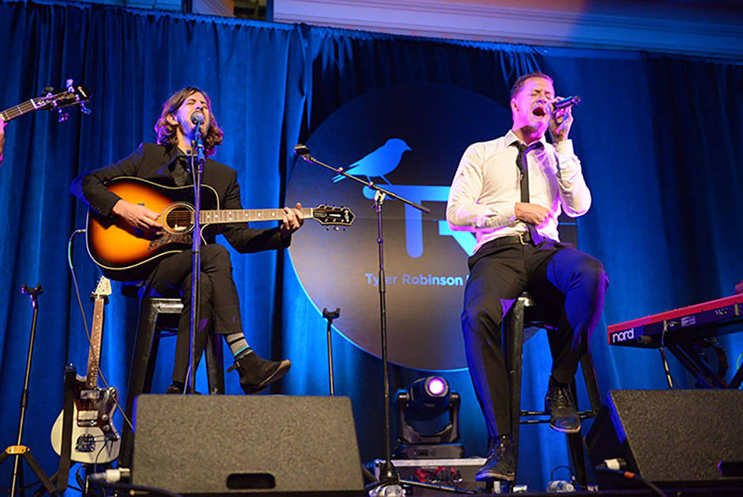 Dan Reynolds performs with Imagine Dragons at the third Tyler Robinson Foundation gala at Caesa ...