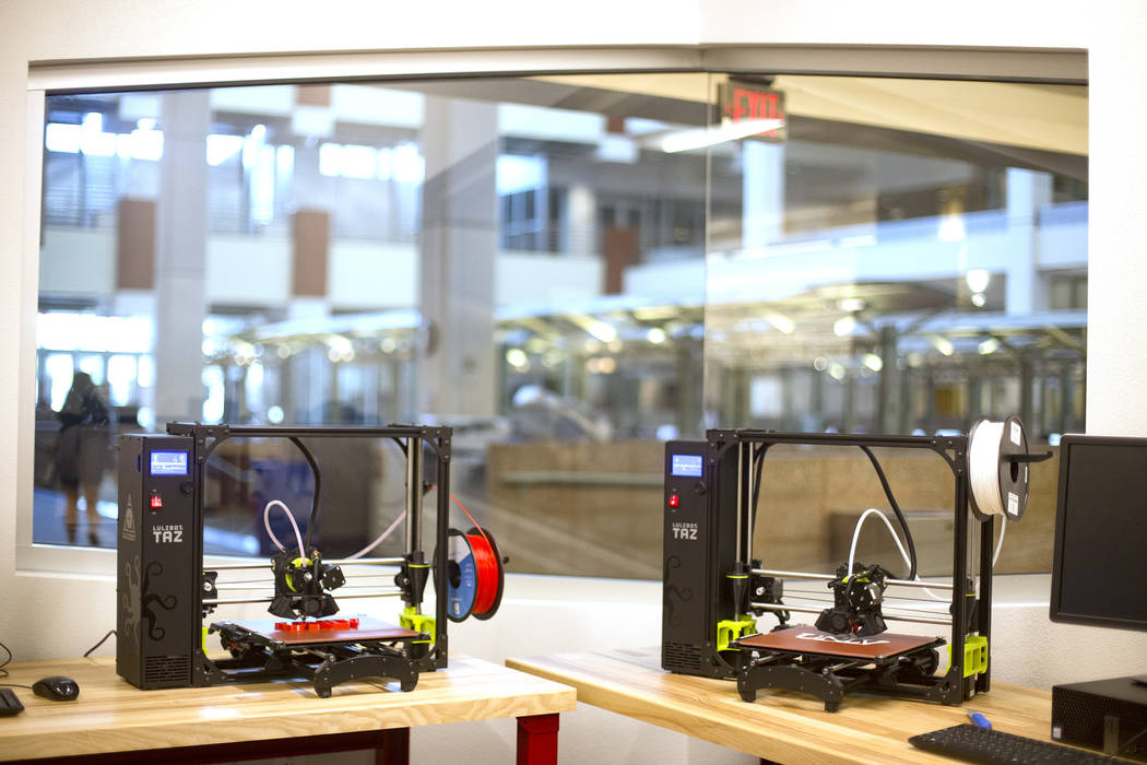 Lulzbot Taz 3D printers at the new Makerspace in the Lied Library at UNLV in Las Vegas, Wednesd ...