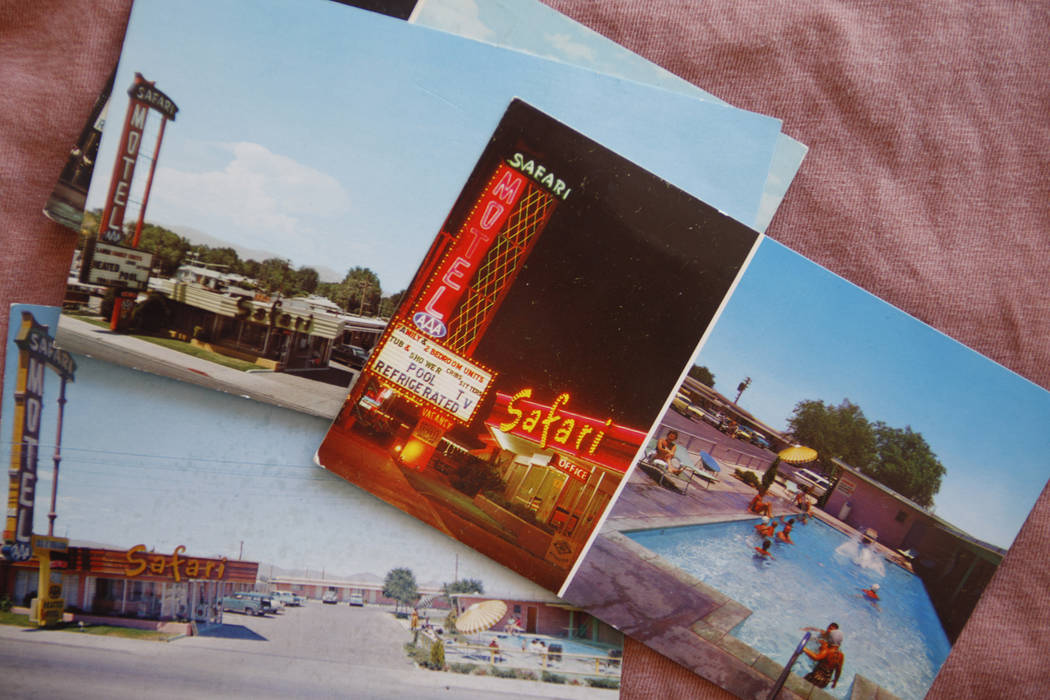 Postcards of the Safari Motel from the 1950s. (Rachel Aston/Las Vegas Review-Journal) @rookie__rae