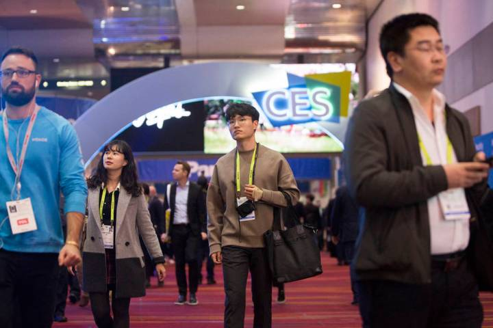Convention goers explore the Central Hall during the last day of CES 2019 on Friday, Jan. 11, 2 ...
