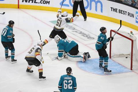 Knights left wing Max Pacioretty (67) scores against San Jose Sharks goaltender Martin Jones (3 ...