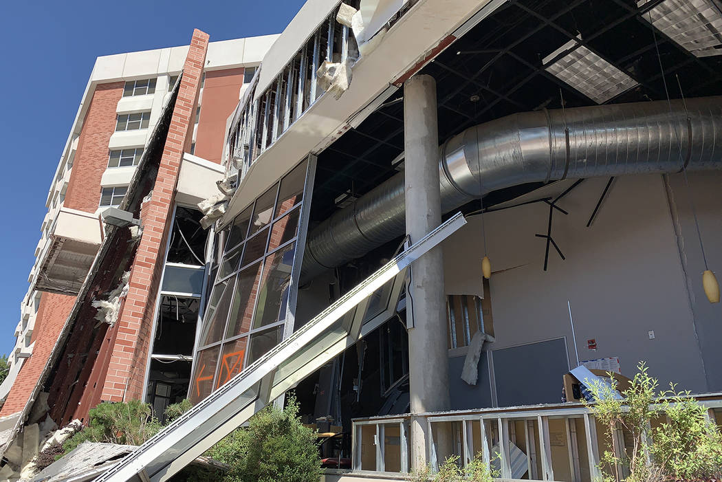 The exterior of Argenta Hall at University of Nevada, Reno, following the July 5 explosions tha ...