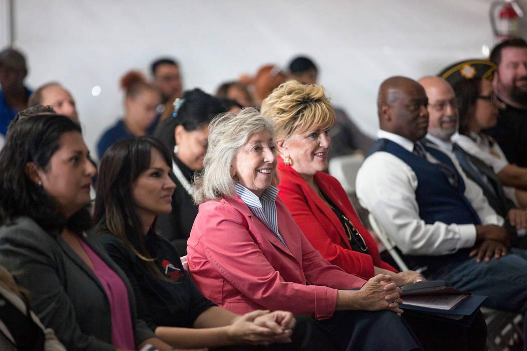 Congresswoman Dina Titus, left, and Mayor Carolyn Goodman listen to Dr. Arnold Stalk, president ...