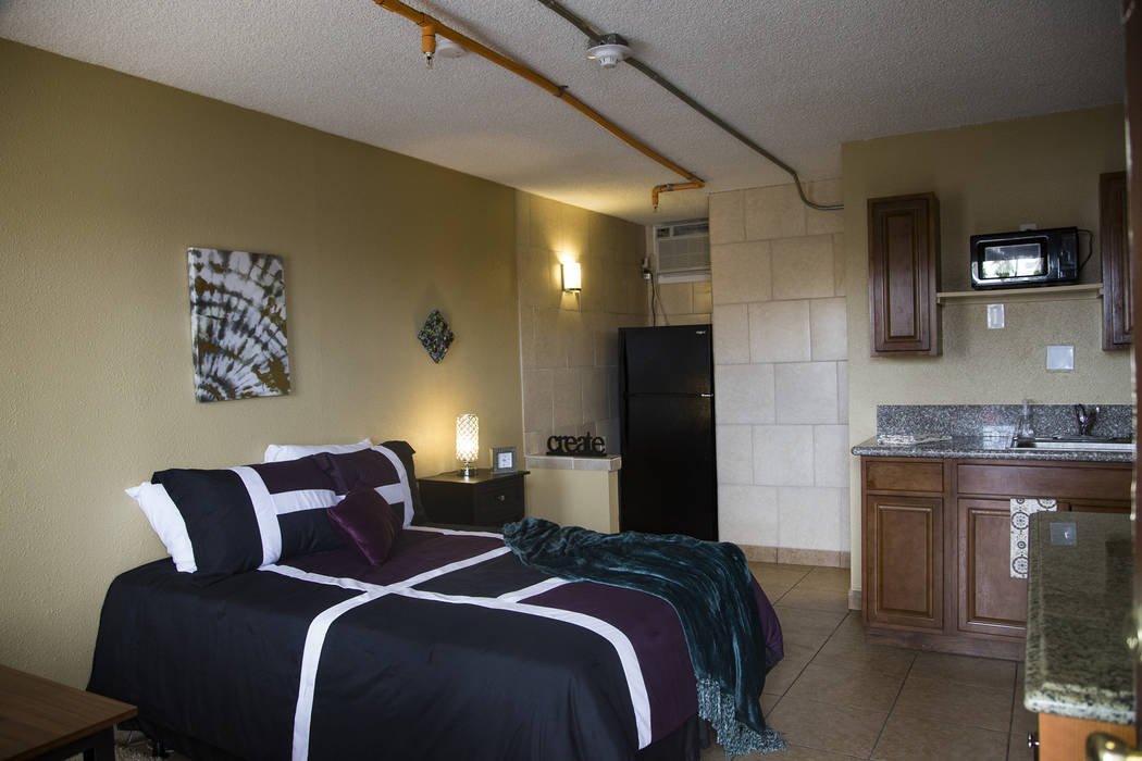 One of the rooms at Veterans Village #4 during the grand opening in Las Vegas, Thursday, Sept. ...