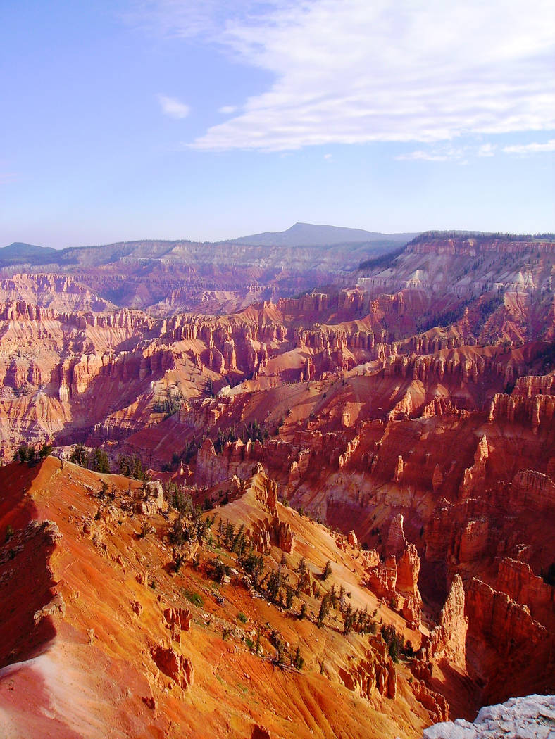 The natural amphitheater at Cedar Breaks National Monument is full of colorful hoodoo, spires a ...