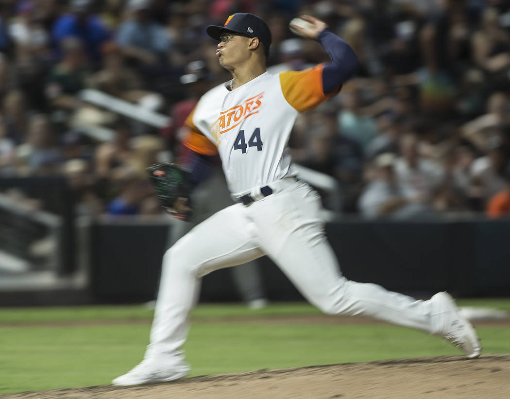 Las Vegas Aviators pitcher Jesus Luzardo (44) delivers to home plate in the top of the third in ...