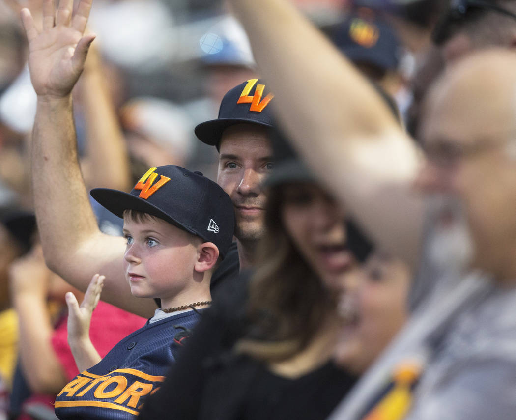 Aviators fans cheer for Las Vegas during Game 3 of their best-of-five playoff series against th ...