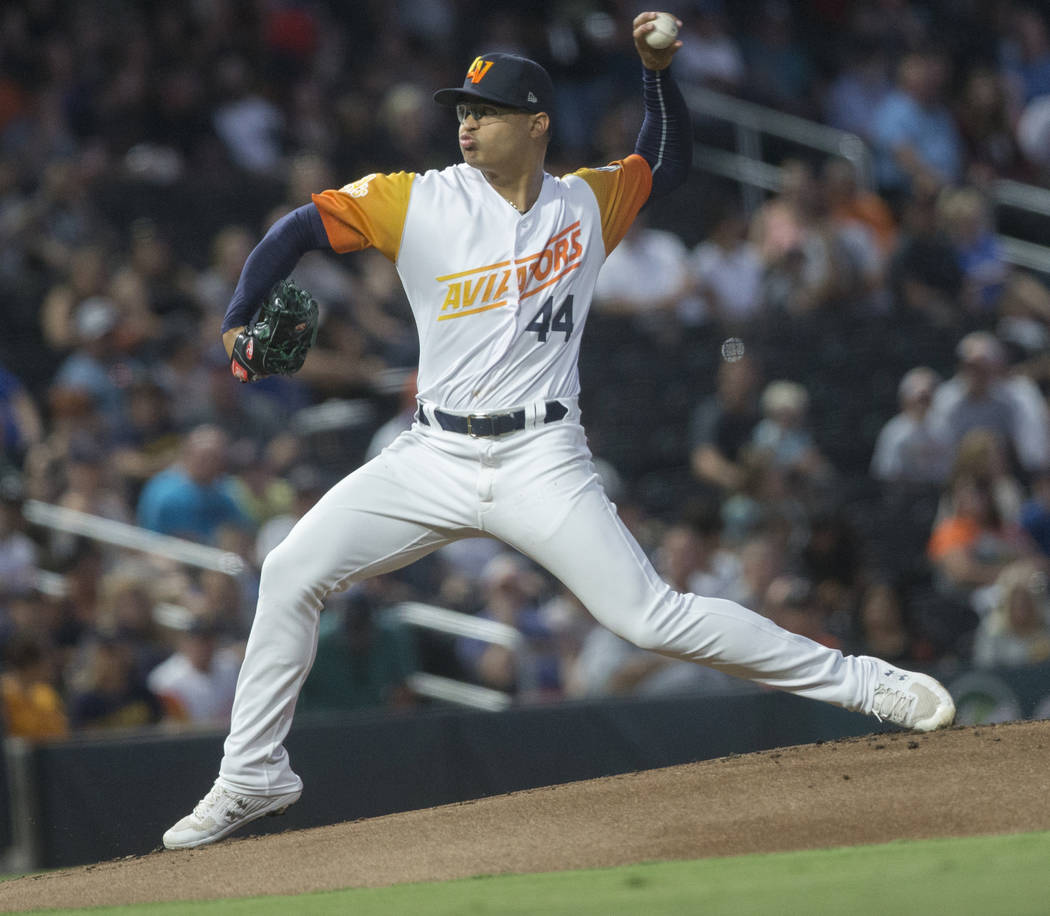 Las Vegas Aviators pitcher Jesus Luzardo (44) delivers to home plate in the top first inning du ...
