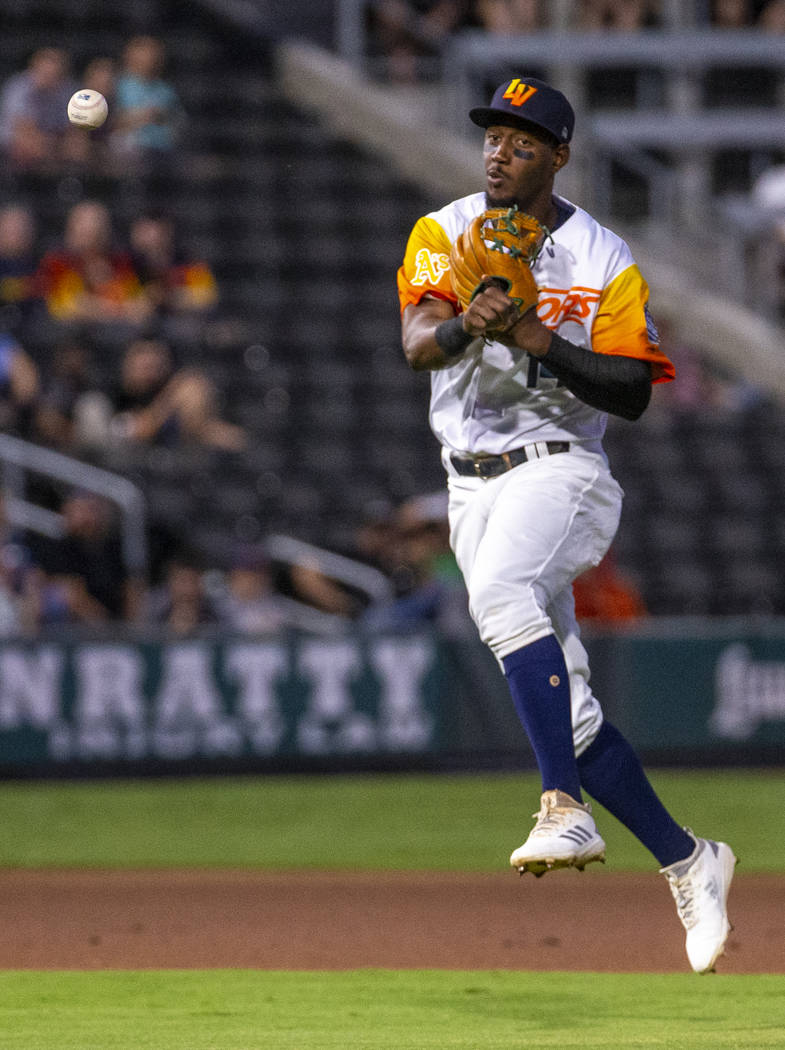 Las Vegas Aviators shortstop Jorge Mateo (14) throws a ball to first base for an out versus the ...