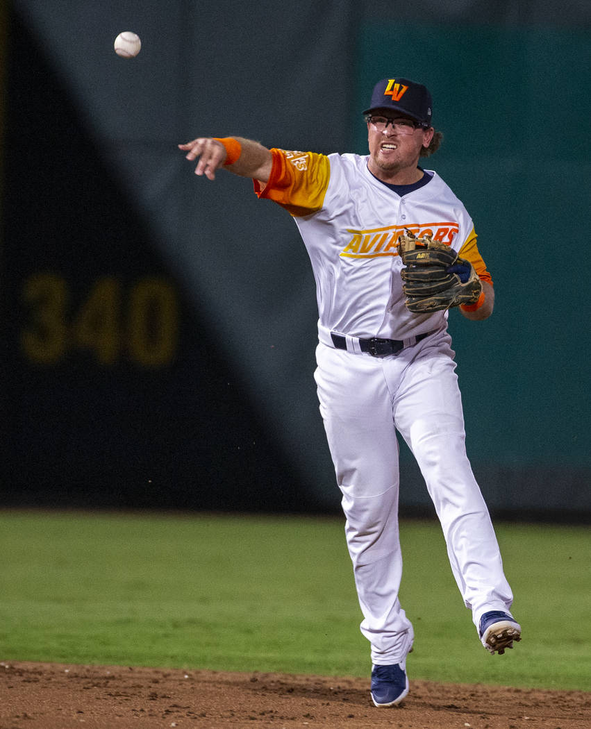 Las Vegas Aviators shortstop Trace Loehr (7) tosses the ball to first base for an out versus th ...