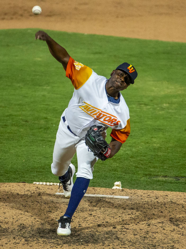 Las Vegas Aviators pitcher Jharel Cotton (45) comes in to finish the game versus the Sacramento ...