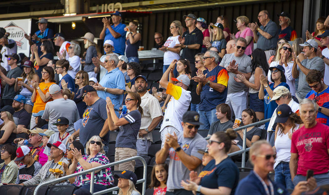 "Las Vegas Aviators fans have fun and enjoy their ""seventh inning stretch"" as the team ..."