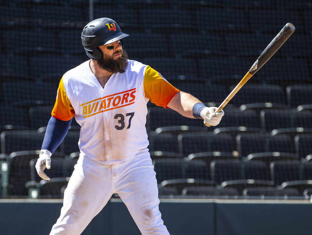 Las Vegas Aviators catcher Cameron Rupp (37) readies to bat in the ninth inning versus the Sacr ...