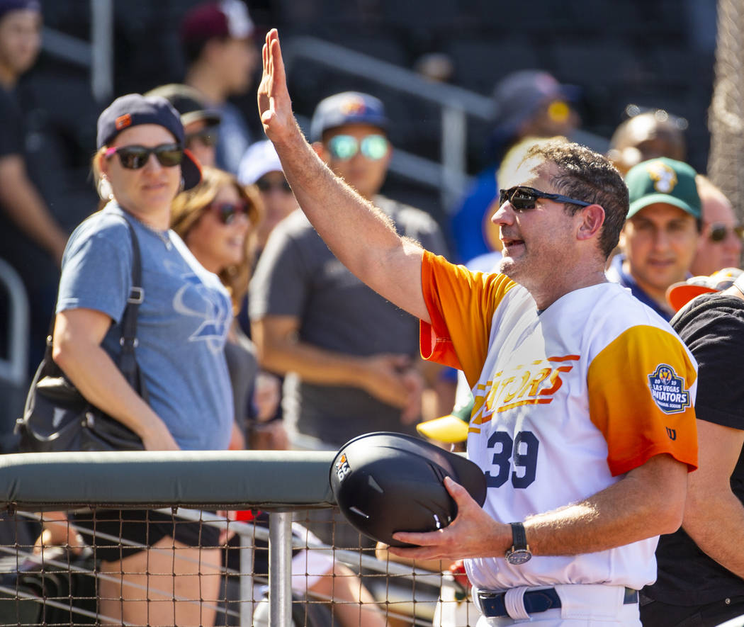Las Vegas Aviators manager Fran Riordan (39) waves to fans while leaving the field after their ...