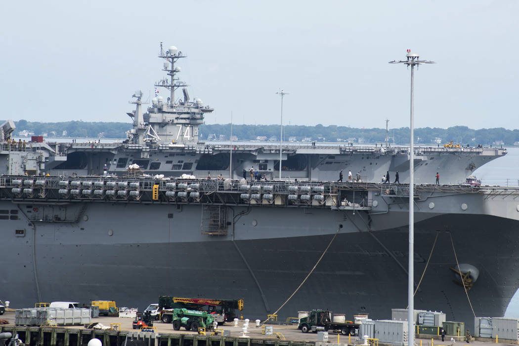 This image provided by the US Navy shows the nuclear powered aircraft carrier USS John C. Stenn ...