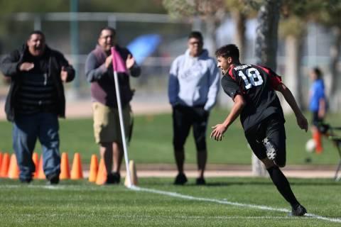Las Vegas' Sergio Aguayo (18) celebrates his goal during the second half against Coronado in th ...