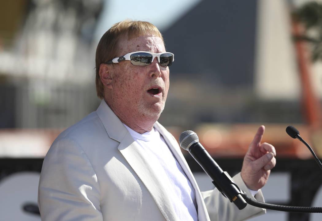 Raiders Owner Mark Davis speaks during the Las Vegas Stadium Topping Out Ceremony in Las Vegas, ...