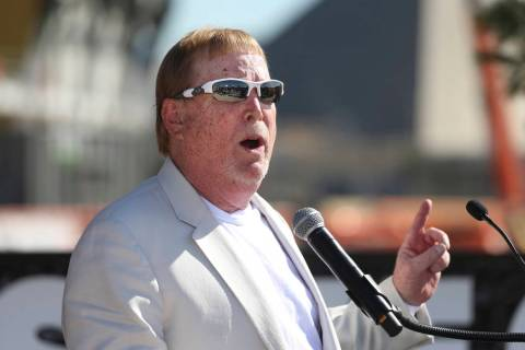 Raiders Owner Mark Davis speaks during the Las Vegas Stadium Topping Out Ceremony in Las Vegas, ...