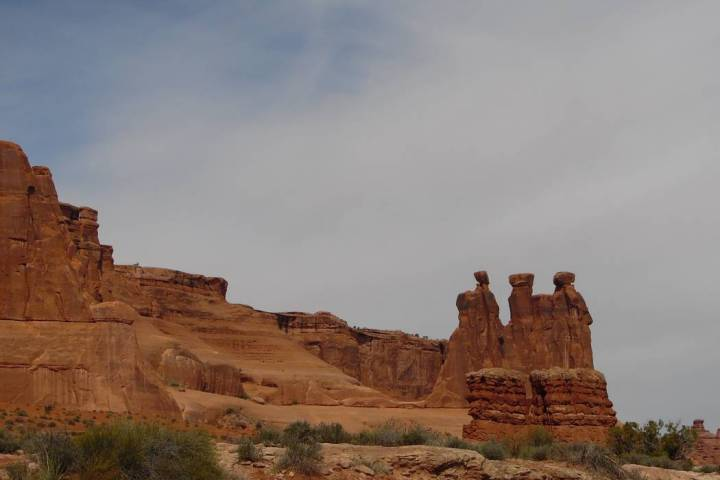 """The """"Three Gossips"""" sandstone formation is seen at Arches National Park. (Natalie Burt)"""