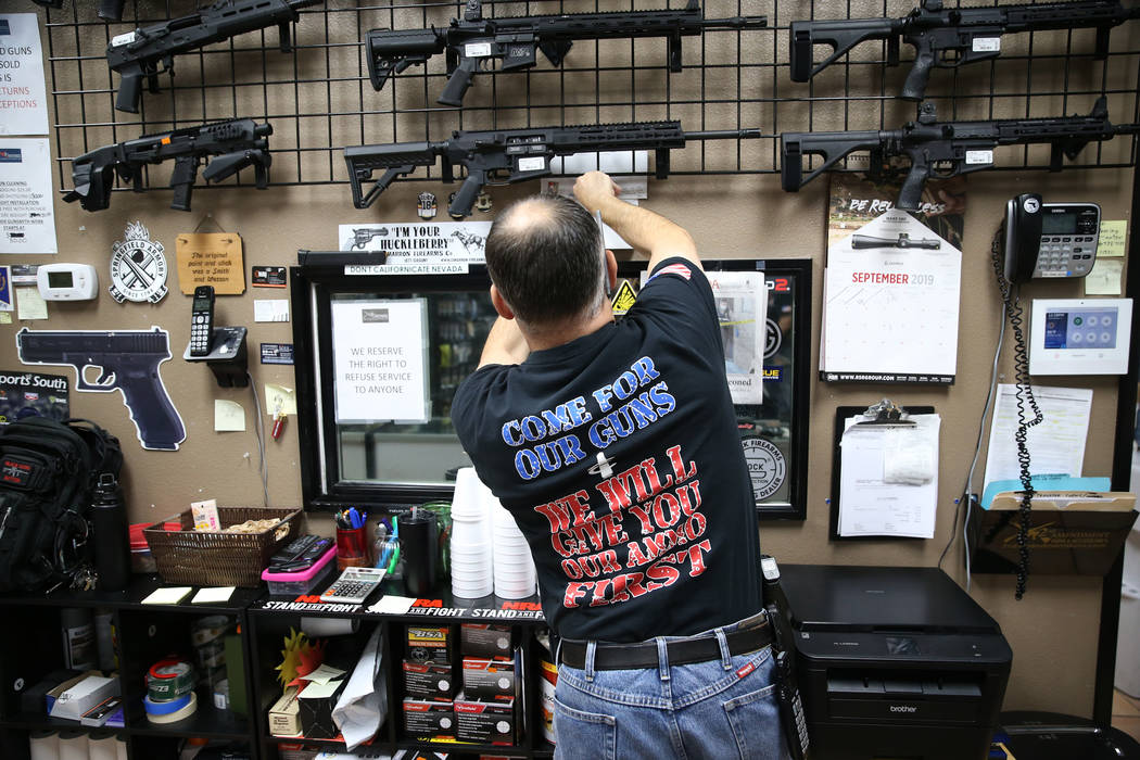 Charles Mazza, manager of 2nd Amendment Gun Shop, inside the Las Vegas store, Wednesday, Sept. ...