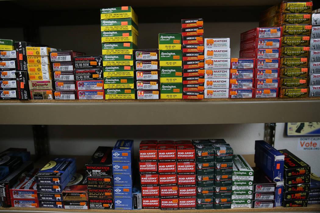 Ammunition at 2nd Amendment Gun Shop in Las Vegas, Wednesday, Sept. 4, 2019. (Erik Verduzco / L ...