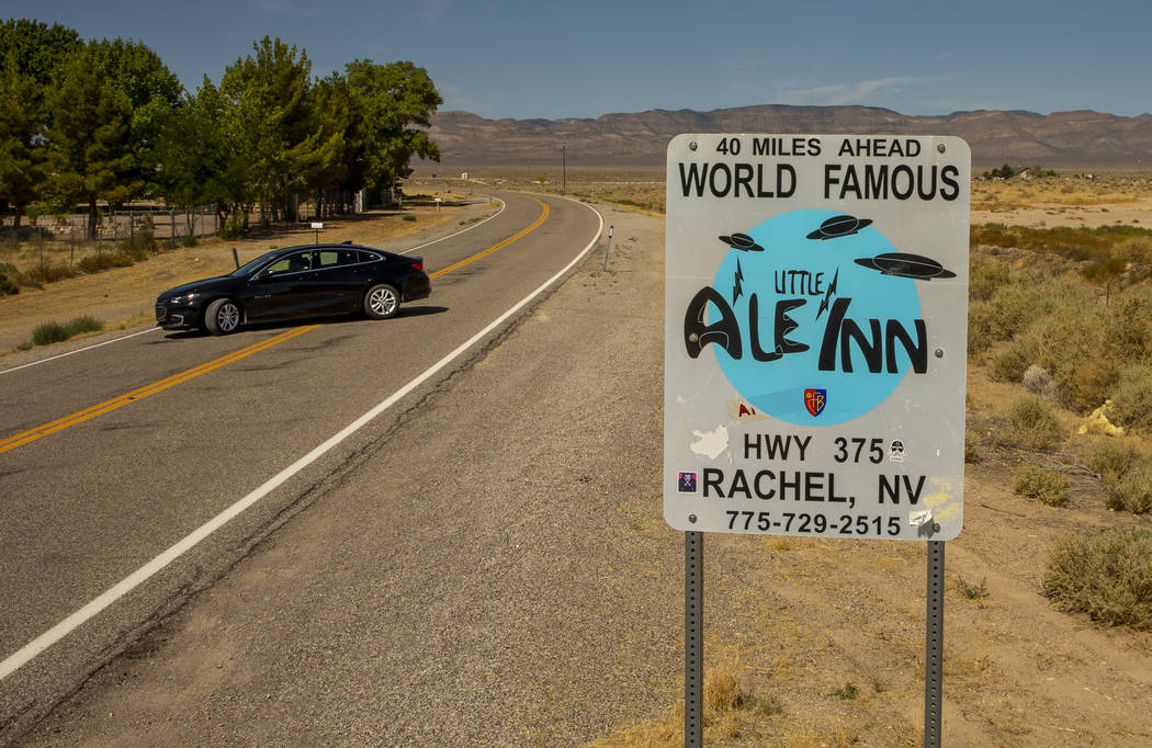 A sign promoting the Little A'Le'Inn 40 miles ahead on the Extraterrestrial Highway/State Route ...
