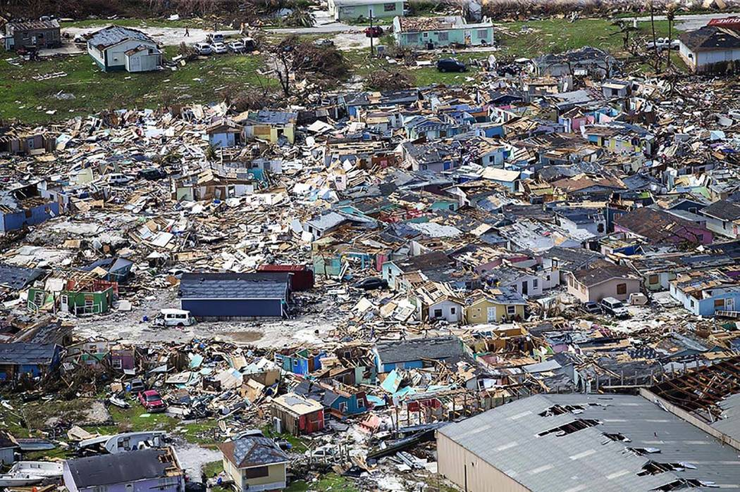 This photo shows destruction from Hurricane Dorian at Marsh Harbour in Great Abaco Island, the ...