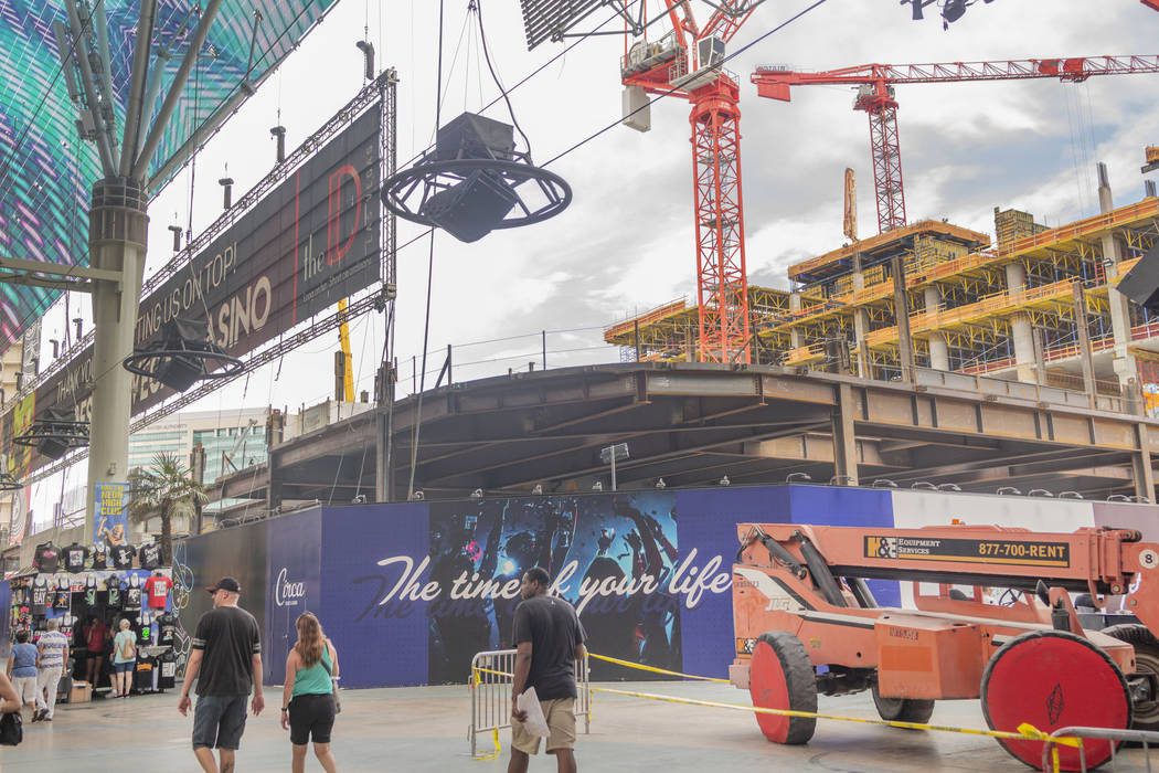 Circa hotel casino construction continues on the western edge of the Fremont Street Experience ...