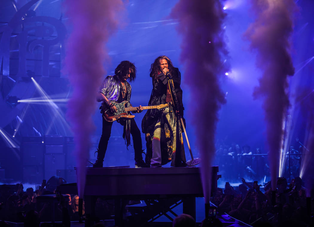 "Joe Perry and Steven Tyler of Aerosmith is shown on opening night of the band's ""Deuces Are Wil ..."