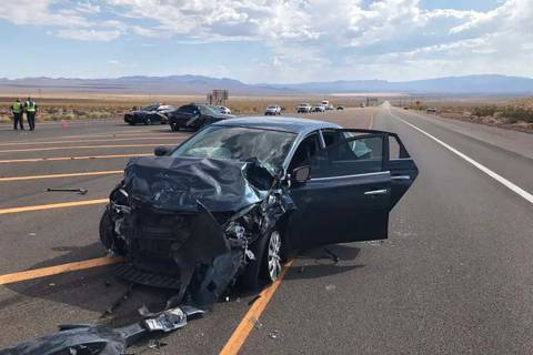 Two women were killed and five other people were injured in a crash at Interstate 11 and U.S. H ...