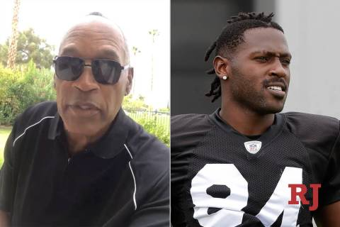 "O.J. SImpson, left, tells Antonio Brown, right, to ""play ball."" (Twitter/Associated Press)"