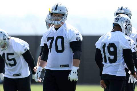 Oakland Raiders offensive guard Jordan Devey (70) warms up during an offseason training session ...