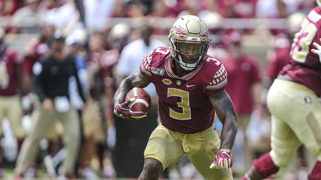 Florida State running back Cam Akers (3) during an NCAA football game on Saturday, Aug. 31, 201 ...