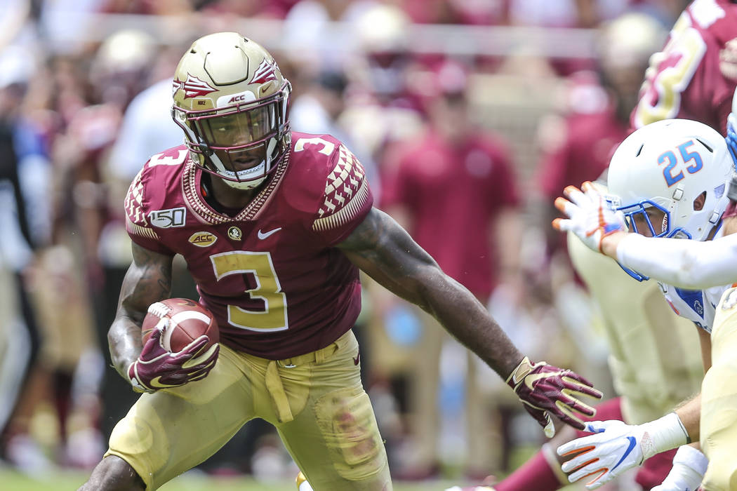 Florida State running back Cam Akers (3) runs the ball during an NCAA football game against Boi ...