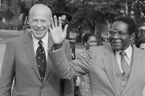 In this Sept. 12, 1983, file photo, Secretary of State George Shultz, left, and Prime Minister ...