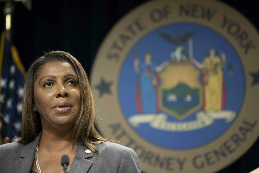 In a June 11, 2019, file photo, New York Attorney General Letitia James speaks during a news co ...