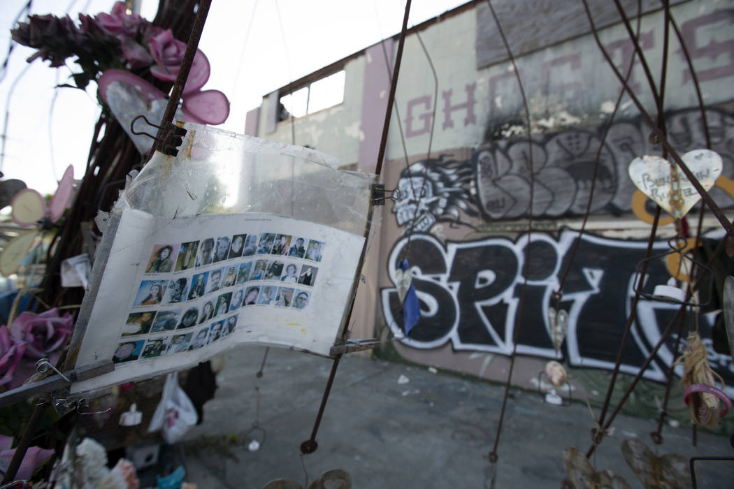 Makeshift memorials erected to the victims of the Ghost Ship warehouse fire, photographed Thurs ...
