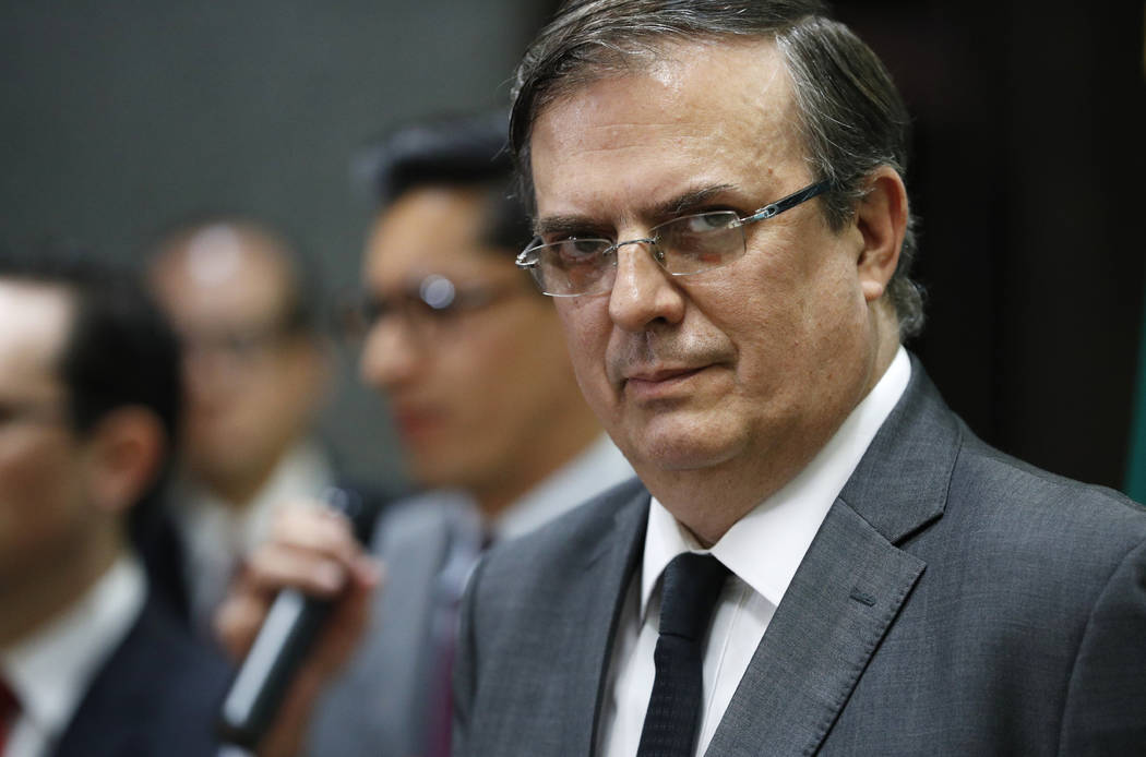 FILE - In this Aug. 5, 2019 file photo, Mexican Foreign Minister Marcelo Ebrard gives a news co ...