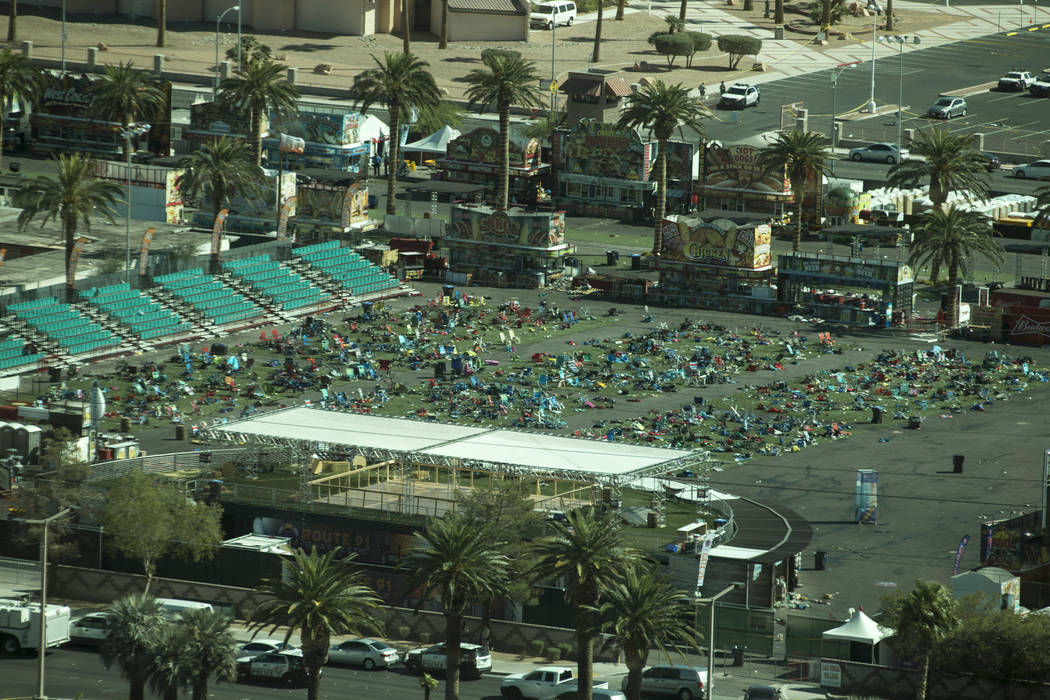 Scenes from day after the Route 91 Harvest shooting in Las Vegas October 2, 2017. (Richard Bria ...