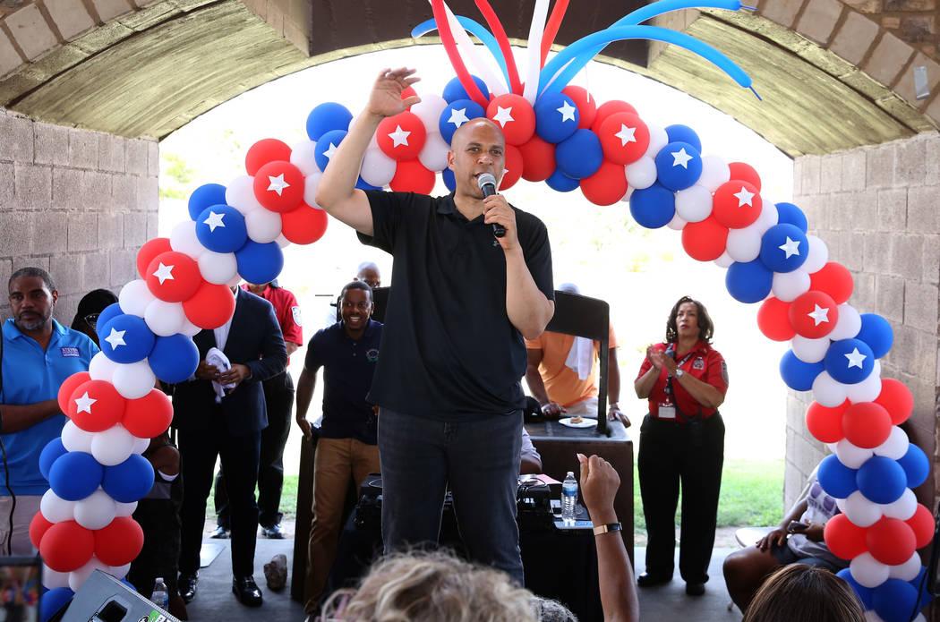 Democratic presidential candidate Sen. Cory Booker, D-N.J., speaks during Rep. Steven Horsford' ...