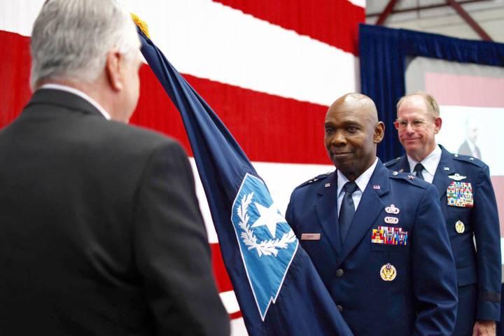 Brig. Gen. Ondra Berry, center, receives command of theʎevadaʎationalʇuardʦromʎevadaʇov. ...